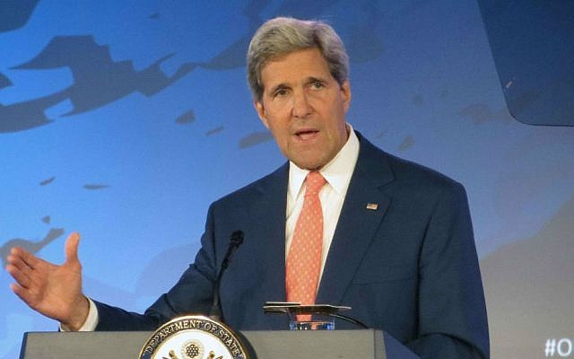 US Secretary of State John Kerry at the State Department, Monday, June 16, 2014. (photo credit: AP/Lauren Victoria Burke)