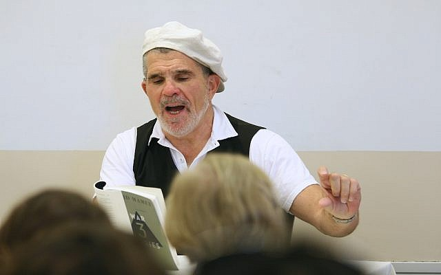 Director David Mamet teaching his master class at the Jerusalem Film Festival this week (photo credit: Nir Shaanani)