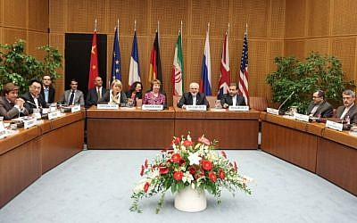 A meeting at the P5+1 talks with Iran at UN headquarters in Vienna, on July 3, 2014 (photo credit: AFP/Joe Klamar)