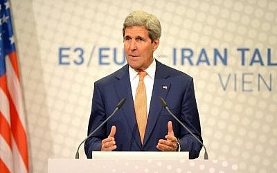 US Secretary of State John Kerry speaks during his final press conference after talks over Tehran's nuclear program in Vienna, on July 15, 2014. (photo credit: AFP/ JOE KLAMAR)
