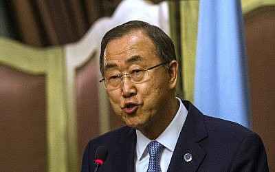 UN Secretary General Ban Ki-moon speaks during a joint press conference with Egyptian Foreign Minister Sameh Shokri (unseen) and in Cairo on July 21, 2014 (photo credit: AFP PHOTO/KHALED DESOUKI)