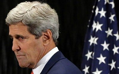 US Secretary of State John Kerry at a press conference in Cairo with United Nations Chief Ban Ki-moon, on July 25, 2014 (Photo credit: AFP/Pool)