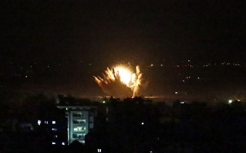 An explosion in Gaza Thursday, July 17, 2014. (photo credit: AFP/THOMAS COEX)