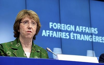 European Union High Representative for Foreign Affairs and Security Policy Catherine Ashton talks to the media following an EU Foreign Affairs Council of Ministers at the EU Council building in Brussels on July 22, 2014. (photo credit: AFP PHOTO / THIERRY CHARLIER)