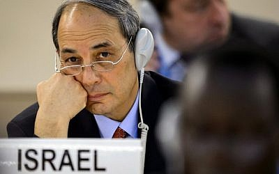 The Permanent Representative of Israel to the United Nations (UN) in Geneva, ambassador Eviatar Manor, attends an emergency session of the UN Human Rights Council on the Gaza crisis at the United Nations Offices in Geneva on July 23, 2014. (photo credit: Fabrice Coffrini/AFP)