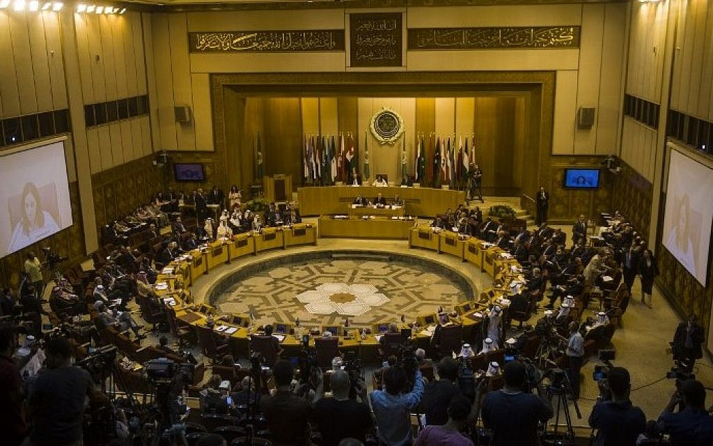 A general view shows an emergency meeting of Arab foreign ministers in Cairo on July 15, 2014 to discuss the situation in the Gaza Strip (Photo credit: Khaled Desouki/AFP)