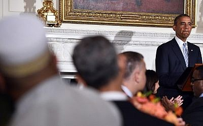 US President Barack Obama speaks as he hosts an Iftar dinner in the State Dining Room at the White House in Washington on July 14, 2014. Obama said he hopes Egypt's ceasefire plan can restore calm in Gaza (Photo credit: Jewel Samad/AFP)