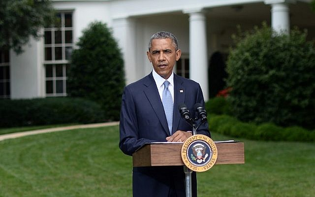 US President Barack Obama speaks to the press outside the Oval Office at the White House in Washington, DC, on July 21, 2014. (photo credit: AFP/Jewel Samad)