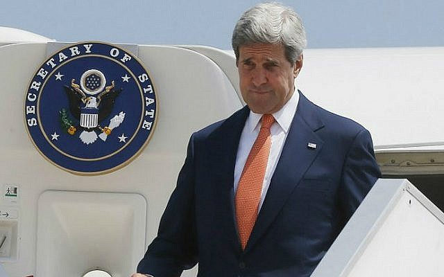 US Secretary of State John Kerry steps out from his plane at Ben Gurion airport as he arrives in Israel on July 23, 2014. (file photo credit: AFP/STR)