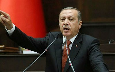 Turkish Prime Minister Recep Tayyip Erdogan in the parliament in Ankara, July 15, 2014.  (photo credit: AFP/ADEM ALTAN)