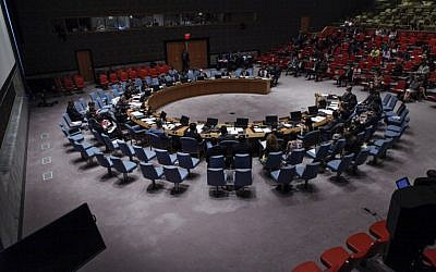 The United Nations Security Council meets at the UN on July 22, 2014 in New York City. (photo credit: Kena Betancur/Getty Images/AFP)