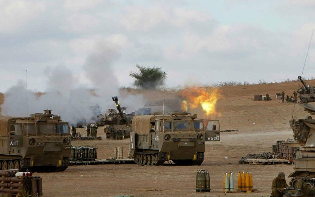 IDF Artillery Corps seen firing shells to Gaza, near the border in southern Israel on July 18, 2014 (photo credit: Miriam Alster/Flash90)