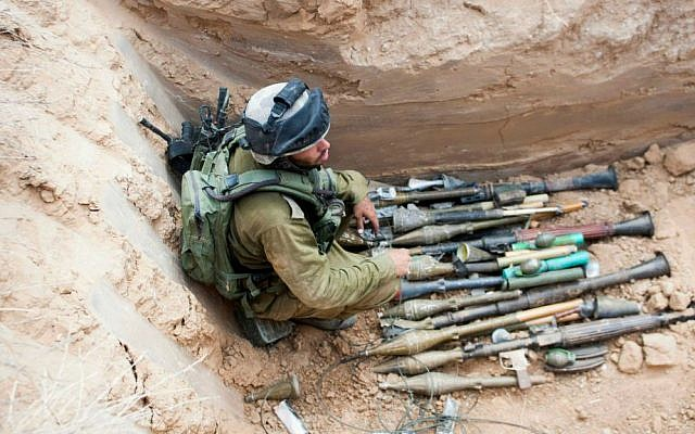 Weapons found inside a tunnel near Kibbutz Sufa on the Israel-Gaza border on July 17, 2014. (photo credit: IDF Spokesperson's Office/Flash90)