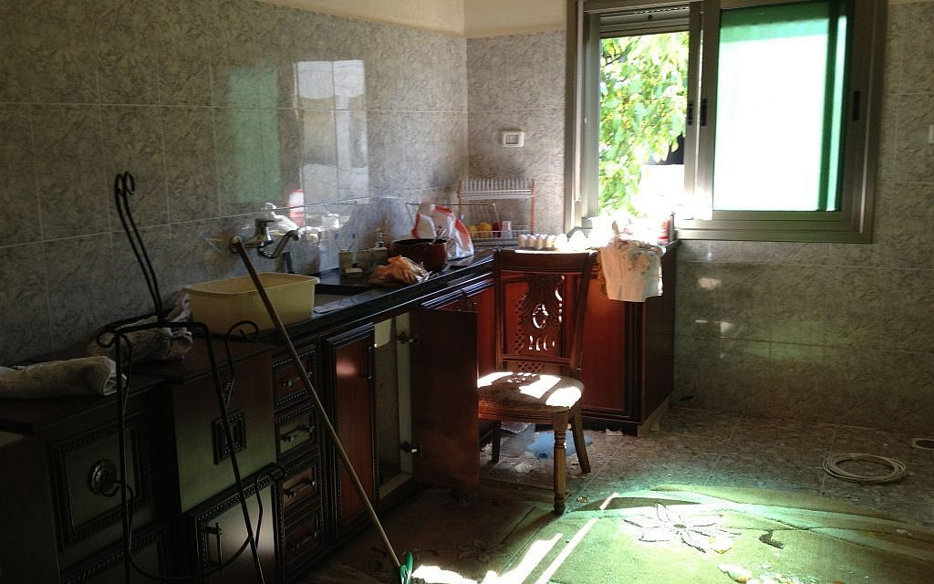 The destroyed kitchen at the Abu Aysha home in Hebron, July 1, 2014 (photo credit: Elhanan Miller)