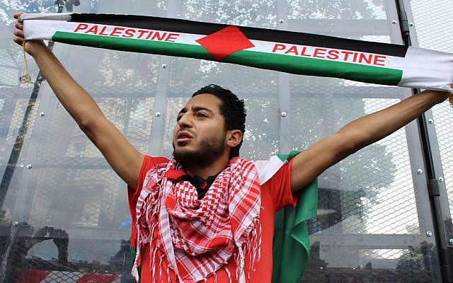Pro-Palestinian protestor holds Palestine scarf at Parisian demonstration on Saturday, July 26, 2014. (Glenn Cloarec/The Times of Israel)