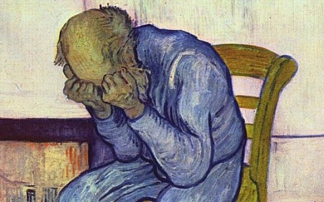 """Sorrowing Old Man"" by Vincent Van Gough, who may have gotten dopamine boosts from his psychotic episodes."