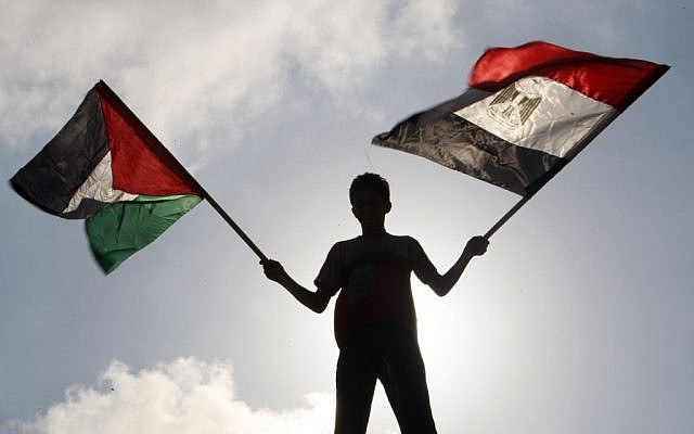 Illustrative photo of a Palestinian man waving Egyptian and Palestinian flags. (photo credit: AP/Adel Hana)
