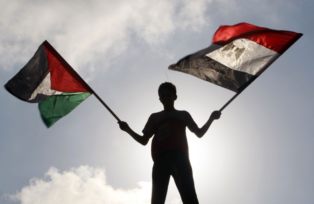 palestinian man with flag