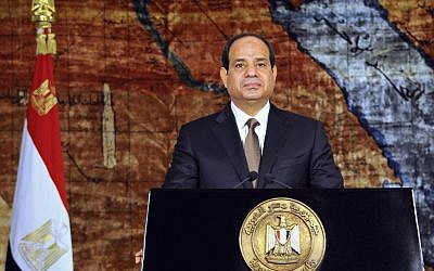 Egyptian President speaks in a nationally televised broadcast in Cairo, Egypt, Wednesday, July 23, 2014 (photo credit: AP/Fady Fars)