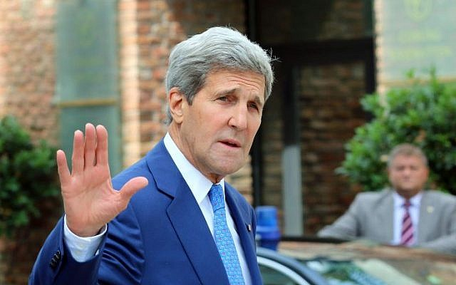 US Secretary of State John Kerry arrives in front of a hotel where closed-door nuclear talks on Iran take place in Vienna, Austria, Monday, July 14, 2014. (photo credit: AP Photo/Ronald Zak)