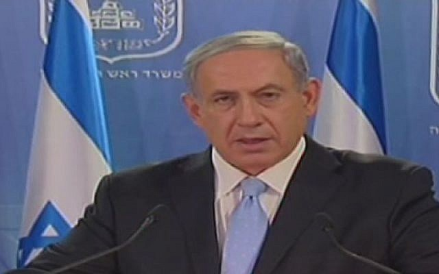 Prime Minister Benjamin Netanyahu speaks to the press on Sunday, July 20, 2014. (screen capture: Channel 2)