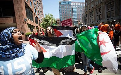 Pro-Palestinian protesters 'swarmed' an 'island of Israel supporters' at the conclusion of an anti-Israel rally outside of Boston's Israel consulate, July 11, 2014. (photo credit: Elan Kawesch/The Times of Israel)