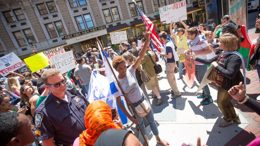 An illustrative image of an anti-Israel protest in Boston in July 2014. Pro-Palestinian activists surrounded several Israel supporters, hurling insults and allegedly physically assaulting pro-Israel students (photo credit: Elan Kawesch/The Times of Israel)