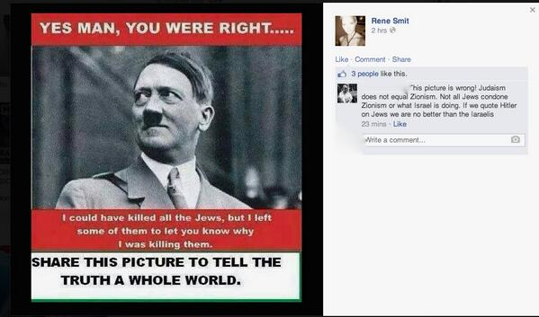 The anti-Semitic meme ANC's Rene Smit posted to international disdain. (courtesy)