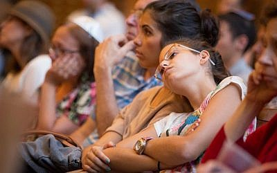 More than 600 Boston-area Jews attended a Memorial Service for Our Boys outside Boston Wednesday, July 2, 2014. (photo credit: Elan Kawesch/The Times of Israel)