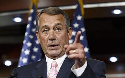 House Speaker John Boehner, R-Ohio, talks with the media on Capitol Hill in Washington (photo credit: AP/File)