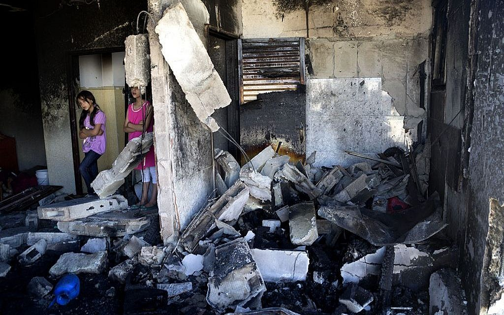 The bombed-out apartment of Amer Abu Aysha following the discovery of the three slain Israeli teenagers (photo credit: courtesy/Q.G.)