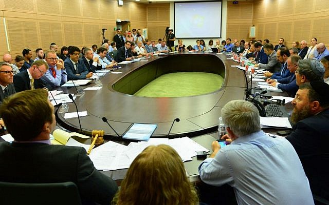 Full to capacity room at the Knesset's emergency meeting on rising anti-Semitism in Europe, July 28, 2014. (Israel Bardugo / The Israeli-Jewish Congress)