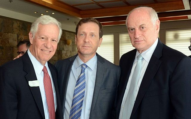 Robert Sugarman, chairman of the Conference of Presidents of Major American Jewish Organizations, Labor leader MK Isaac Herzog, and Conference executive vice chairman Malcolm Hoenlein Monday, July 15, 2014 at the Knesset. (photo: Avi Hayun)
