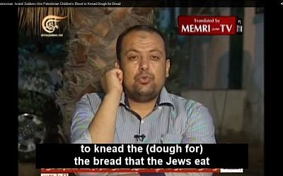 Palestinian Islamic Jihad spokesman Daoud Shihad (screen capture: YouTube)