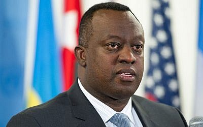 Security Council President Ambassador Eugène-Richard Gasana of Rwanda. (photo credit: UN Photo/Mark Garten)