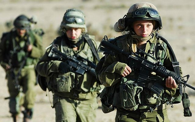 Illustrative: Female soldiers of the Caracal Battalion, November 2007. (Yoni Markovitzki/IDF Spokesperson/Flash90)