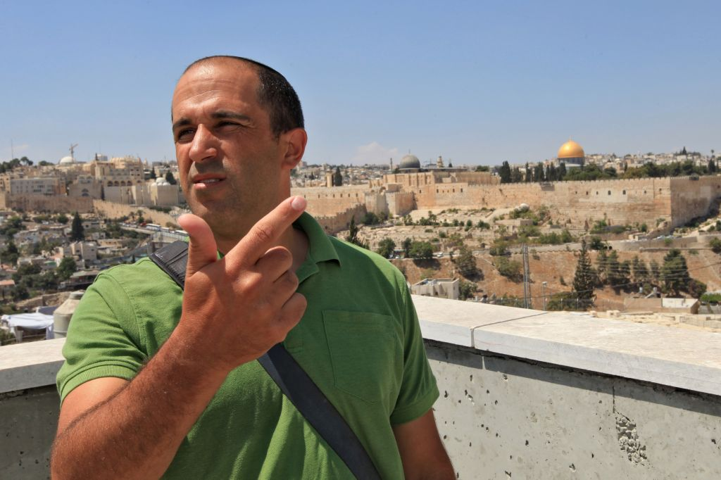 Jerusalem councilman Arieh King runs the Israel Land Fund, a right-wing organization funded by American philanthropist Irving Moskowitz, committed to buying up land in East Jerusalem. King lives with his family in Ras-el Amud, an Arab neighborhood in East Jerusalem (photo credit: Nati Shochat/Flash 90)