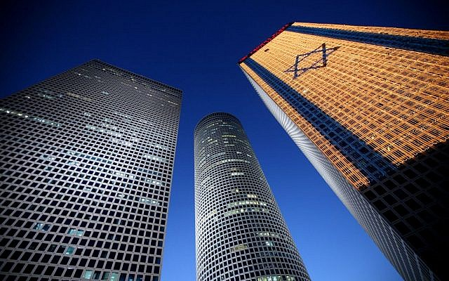 The Azrieli Towers, Tel Aviv, a center of commerce in Israel. (photo credit: Moshe Shai/Flash90)