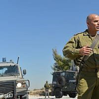 Then-Col. Ghassan Alian during a patrol in July 2013 in Jenin. Col. Alian, who heads the Golani Brigade, returned to the unit after being injured in battle two days earlier (Yossi Zeliger/FLASH90)