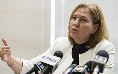 Justice Minister Tzipi Livni speaks during a Hatnua party meeting in the Knesset in May 2014. (photo credit: Flash90)