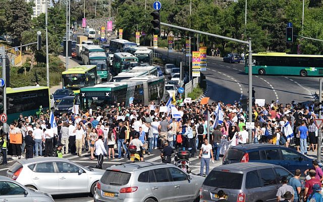 Far right protesters blocking a major Jerusalem intersection July 1. (photo credit: Mendy Hechtman/Flash90)