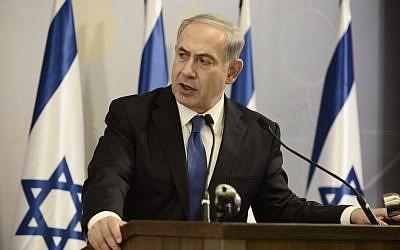 Prime Minister Benjamin Netanyahu speaks during a press conference at the Kirya military base in Tel Aviv on July 1, 2014. (photo credit: Tomer Neuberg/Flash90)