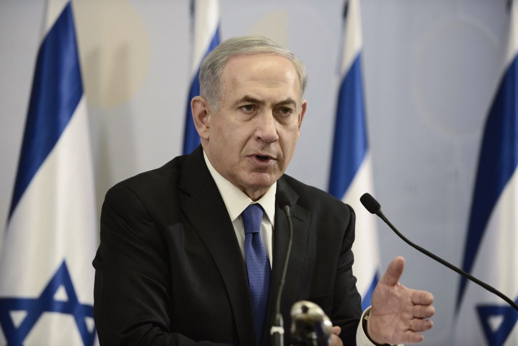 Prime Minister Benjamin Netanyahu speaks during a press conference at the Kirya military base in Tel Aviv on July 1, 2014 (photo credit: Tomer Neuberg/Flash90)