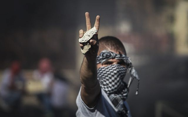 A Palestinian holds up a rock during clashes with police in Jerusalem after the body of Muhammed Abu Khdeir was found early Wednesday morning (photo credit: Hadas Parush/FLASH90)