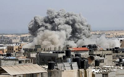An Israeli missile hits an area in Rafah, southern Gaza Strip, Wednesday, July 9, 2014. (photo credit: Abed Rahim Khatib/Flash90)