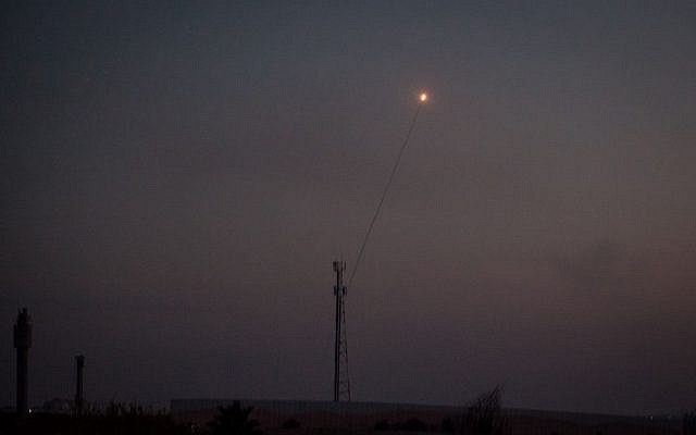 A rocket launched from the Gaza Strip into Israel seen in the sky from Southern Israel on the second day of Operation Protective Edge, July 9, 2014. (Avishag Shaar Yeshuv/Flash90)