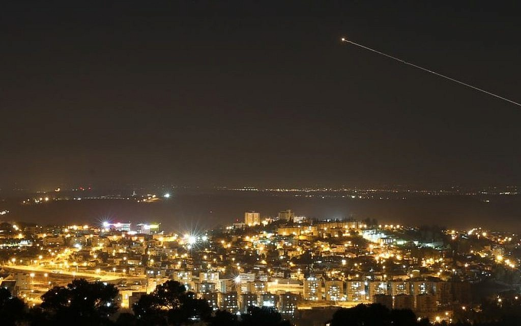 The Irone dome rocket seen flying over central Israel on July 09, 2014. Israel launched an offensive against the Gaza Strip with a series of airstrikes in response to increasing rocket attacks into Israel, by Palestinian militants. (photo credit: Nati Shohat/Flash90)
