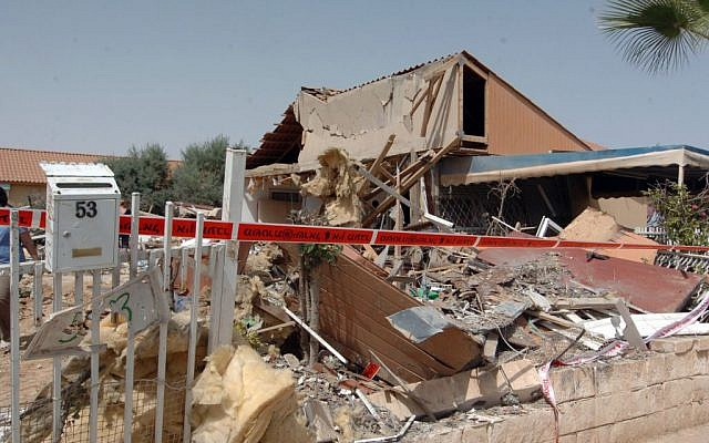 A July 12 picture of the house in the Nahal Beka neighborhood in Beersheba that was directly hit by a rocket on the fourth day of Operation Protective Edge, on the night of July 11. (Photo credit: Flash90)