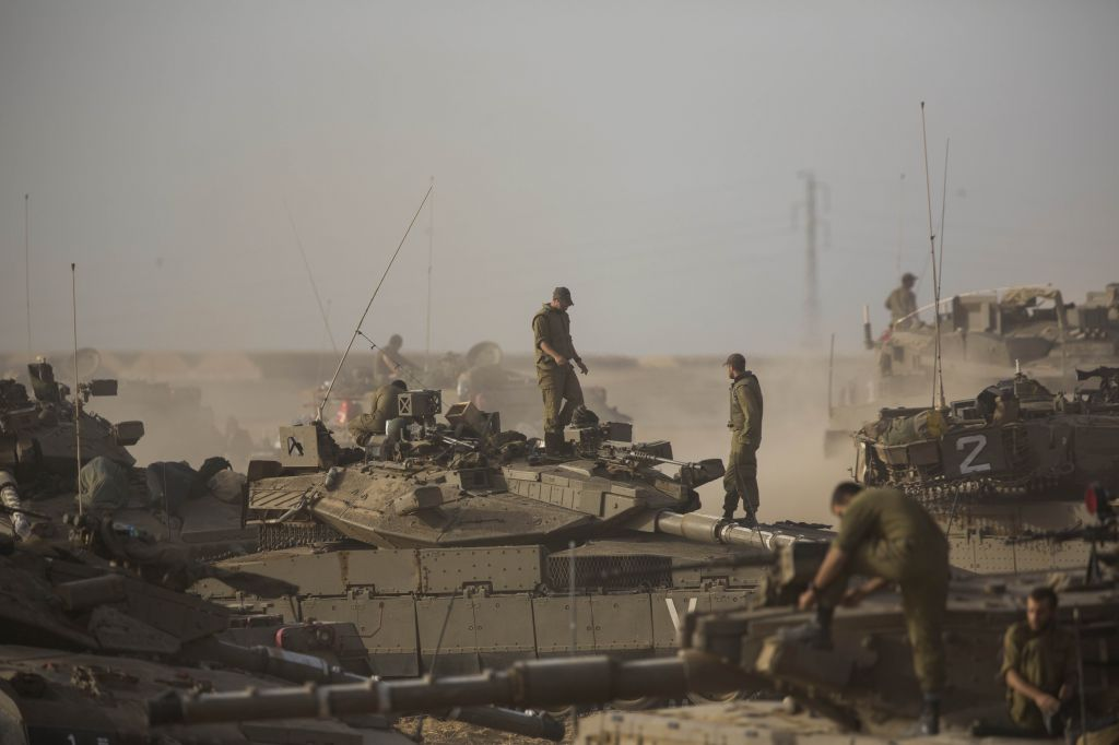 IDF tanks and soldiers in southern Israel near the border with Gaza, on the fifth day of Operation Protective Edge, July 12, 2014. (photo credit: Yonatan Sindel/Flash90)