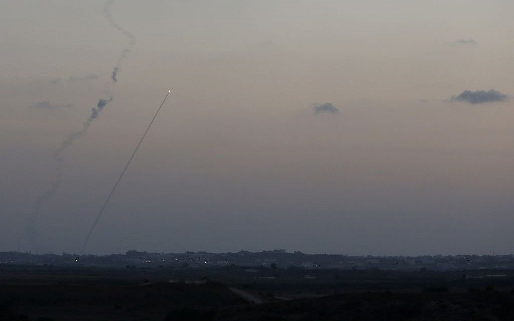 Rockets seen fired from Gaza into Israel, on July 13, 2014. (photo credit: Miriam Alster/FLASH90)